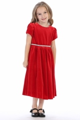 Swea Pea & Lilli C600 Red Velvet Holiday Dress w/ Rhinestone Belt