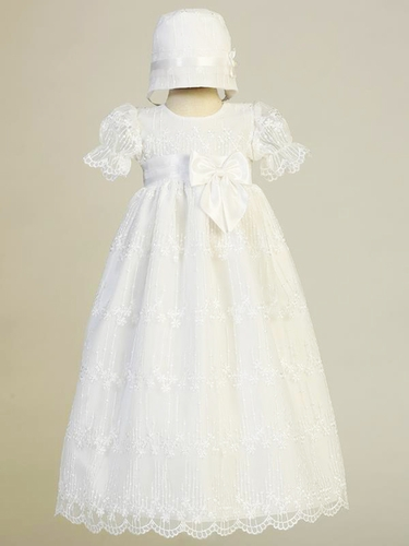 Swea Pea & Lilli Camila White Embroidered Tulle Gown w/ Bow