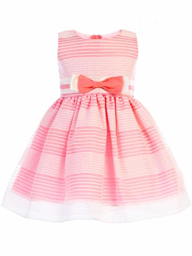 Swea Pea & Lilli Coral M733 Striped Organza Dress w/ Bow