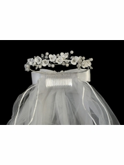Swea Pea & Lilli Floral Communion Headpiece w/ Rhinestone & Pearls