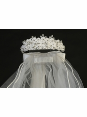 Swea Pea & Lilli Layered Satin Flower & Rhinestone Communion Veil