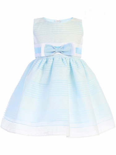 Swea Pea & Lilli Light Blue M733 Striped Organza Dress w/ Bow