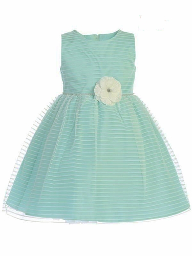 Swea Pea & Lilli M206 Aqua Striped Tulle Dress