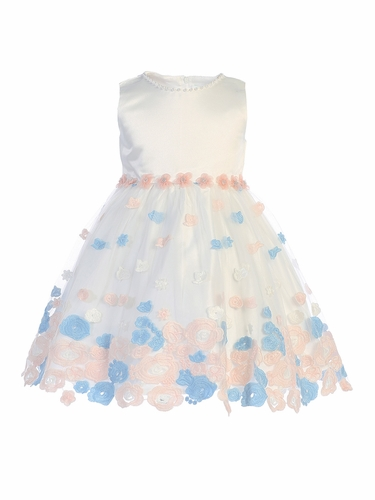 Swea Pea & Lilli M208 Ivory & Blue Floral Embroidered Tulle Dress