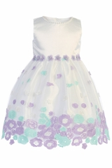 Swea Pea & Lilli M208 Ivory & Lilac Floral Embroidered Tulle Dress