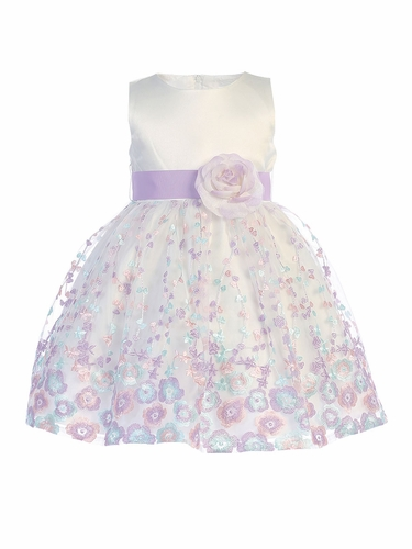 Swea Pea & Lilli M210 Ivory Lilac Embroidered Dress w/ Sash & Flower