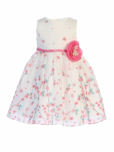 Swea Pea & Lilli M214 Pink & White Floral Organza Satin Dress