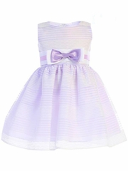 Swea Pea & Lilli M733 Lilac Striped Organza Dress w/ Bow