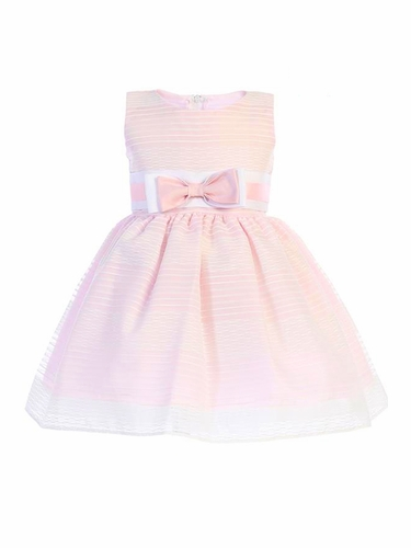 Swea Pea & Lilli M733 Pink Striped Organza Dress w/ Bow