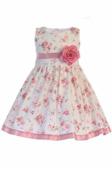 Swea Pea & Lilli M734 Cotton Floral Dress w/ Satin Trim