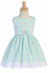 Swea Pea & Lilli M738 Mint Cotton Flower Seersucker Dress