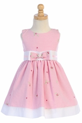 Swea Pea & Lilli M738 Pink Cotton Flower Seersucker Dress
