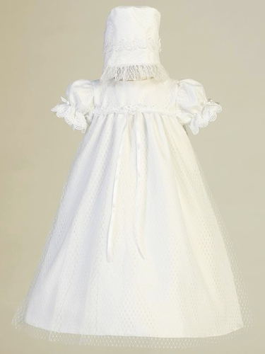 Swea Pea & Lilli Nora White Diamond Mesh Yoke Dress w/ Lace Trim