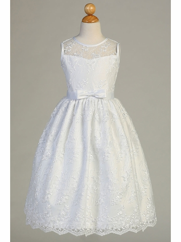 Swea Pea & Lilli SP157 White Embroidered Tulle W/ Satin Trim & Bow