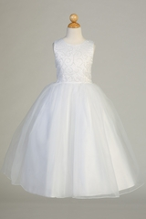 Swea Pea & Lilli SP610 White Sequins On Tulle Dress