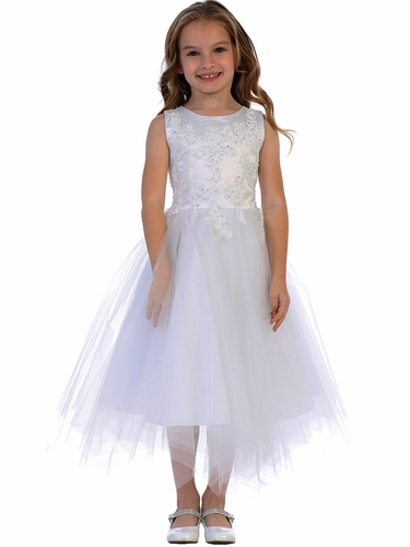 Swea Pea & Lilli SP612 White Embroidered & Tulle Dress w/ Heart Back