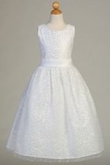 Swea Pea & Lilli SP615 White Tulle Dress w/ Sequins