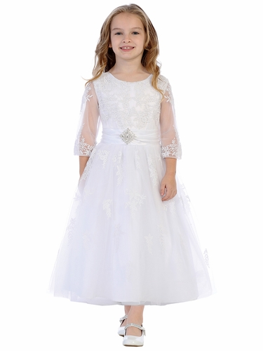 Swea Pea & Lilli SP621 White ¾ Sleeve Embroidered Tulle Dress w/ Brooch
