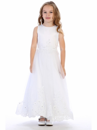 Swea Pea & Lilli SP622 White Satin & Tulle Communion Dress w/ Lace Detailing