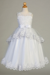 Swea Pea & Lilli SP640 White Lace Overlay Tulle Illusion Neckline Cap Sleeve Dress