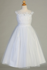 Swea Pea & Lilli SP634 White Embroidered Tulle w/ Illusion Neckline