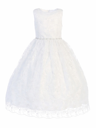 Swea Pea & Lilli SP993 White Embroidered Tulle w/ Rhinestone Belt Communion Dress