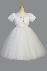Swea Pea & Lilli White Beaded Satin & Tulle Dress w/ Corset Back & Bolero