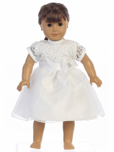 Swea Pea & Lilli White Corded Tulle & Sequins w/ Organza Doll Dress