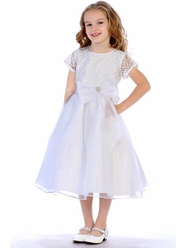 Swea Pea & Lilli White Corded Tulle & Sequins w/ Organza Dress