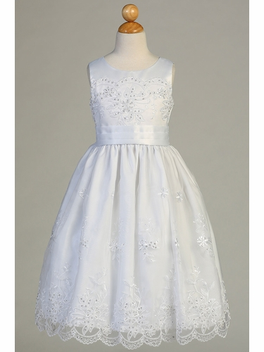Swea Pea & Lilli SP158 White Embroidered Organza w/ Satin Trim Dress