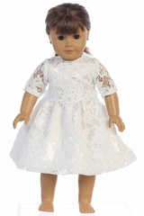 Swea Pea & Lilli SP156Z White Lace w/ Silver Corded Floral Trim Doll Dress