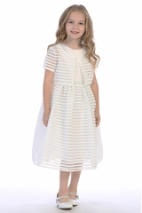 Swea Pea & Lilli White Satin Bodice w/ Stripped Netting Skirt & Bolero
