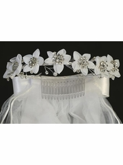 Sweat Pea & Lili T-227 Organza Flower Headband Veil