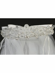 Sweat Pea & Lili T-421 White Beads & Rhinestone w/ Satin Bows Veil