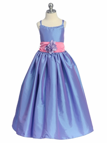 Sweet Beginnings Periwinkle Iridescent Contrasting Taffeta Dress