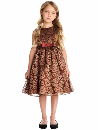 Sweet Kids Burgundy  Bronze Floral Embroidered Mesh