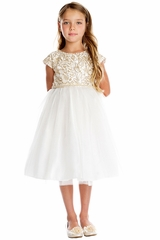 CLEARANCE - Sweet Kids SK709 Ivory Gold Cord Embroidered Mesh & Crystal Tulle