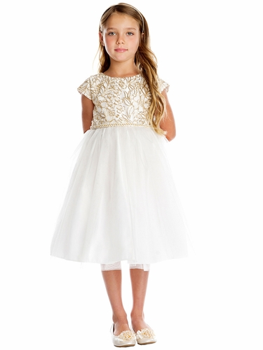 Sweet Kids SK709 Ivory Gold Cord Embroidered Mesh & Crystal Tulle