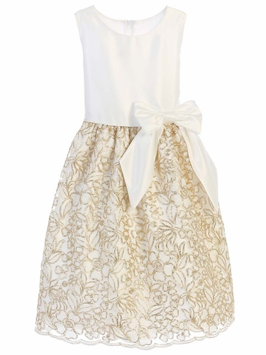 Sweet Kids SK721 Ivory Satin & Gold Cord Embroidered Mesh