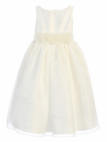 Sweet Kids SK723 Ivory Satin & Organza w/ Flower Waistband Dress