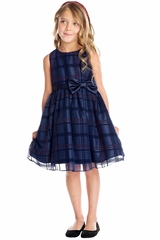 Sweet Kids SK714 Navy Blue Flocked Glitter Plaid Mesh Dress