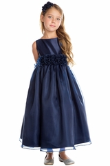 CLEARANCE - Sweet Kids SK723 Navy Blue Satin & Organza w/ Flower Waistband Dress