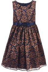 Sweet Kids Navy & Bronze Floral Embroidered Mesh