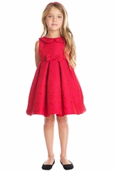 CLEARANCE - Sweet Kids SK707 Red Abstract Jacquard w/ Collar Dress