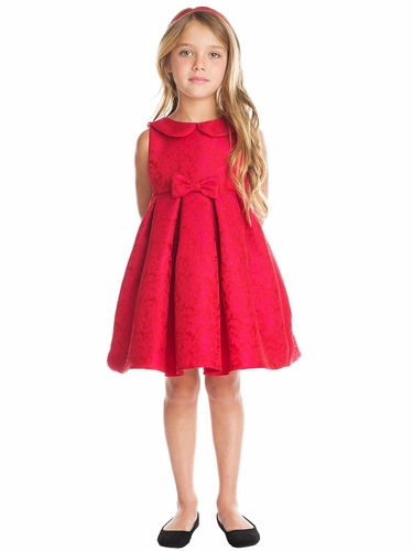 Sweet Kids SK707 Red Abstract Jacquard w/ Collar Dress