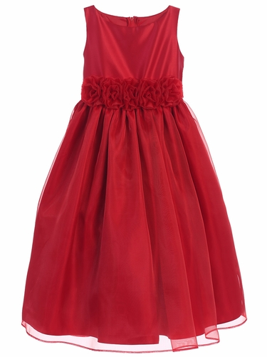 Sweet Kids SK723 Red Satin & Organza w/ Flower Waistband Dress