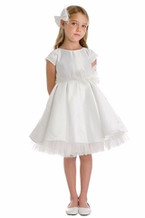 Sweet Kids SK711 White  Full Pleated Satin w/ Oversized Bow