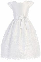 Sweet Kids SK731 White Flower Patch Mesh w/ Satin Dress