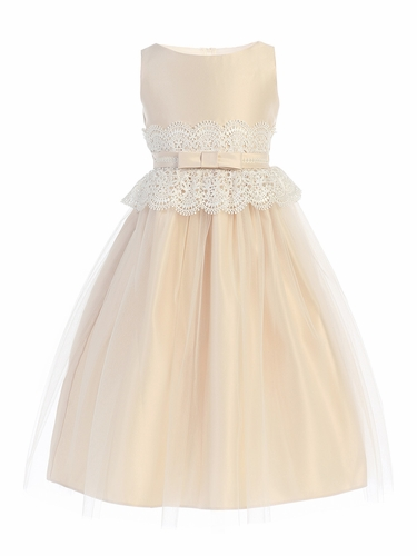 Sweet Kids SK732 Champagne Wide Lace Satin & Tulle w/ Pearl Dress
