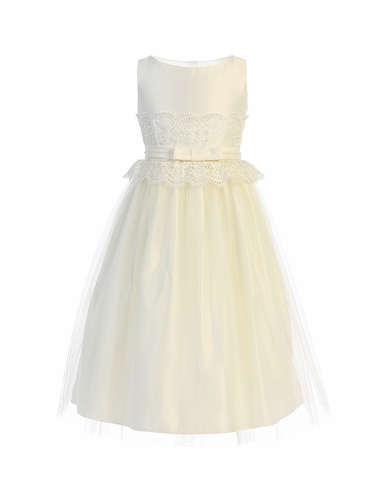 Sweet Kids SK732 Ivory Wide Lace Satin & Tulle w/ Pearl Dress